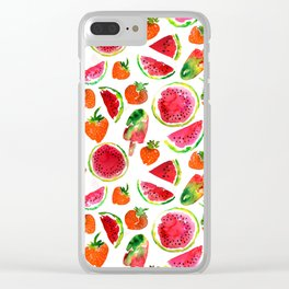 Watercolor watermelon and strawberries fruit popsicles illustration Clear iPhone Case