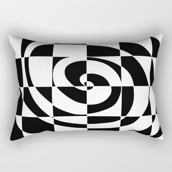 Black And White Swirl Rectangular Pillow