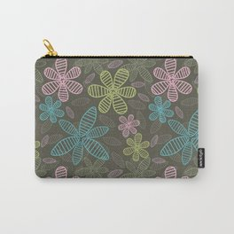 Green Floral Pattern Vector Carry-All Pouch