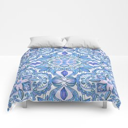Cornflower Blue, Lilac & White Floral Pattern Comforters