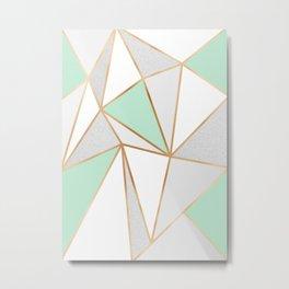 Mint Green, Grey & Gold Geo Metal Print