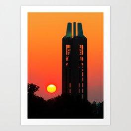 Campanile Silhouette at Sunrise - Lawrence Kansas Art Print