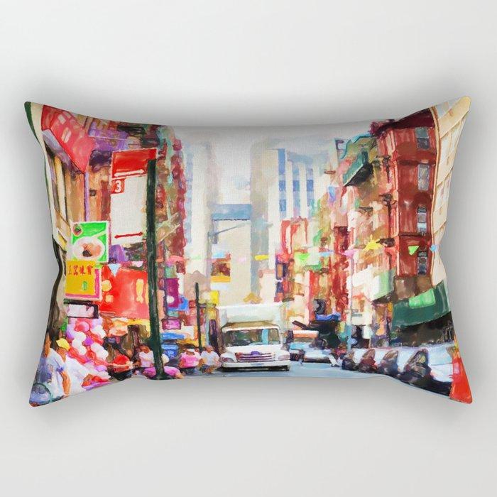 Chinatown in New York Rectangular Pillow