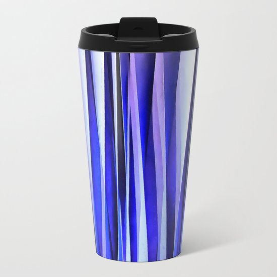 Peace and Harmony Blue Striped Abstract Pattern Metal Travel Mug