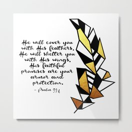 Gold Feather & Psalm 91:4 Metal Print