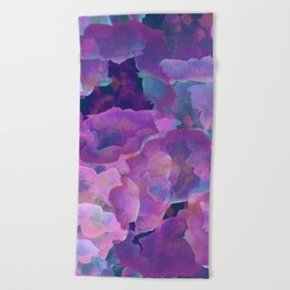 Purple, teal and blue abstract watercolor clouds Beach Towel