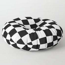 Checker Cross Squares Black And White Floor Pillow
