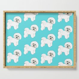 Bichon Frise on aqua / teal / cute dogs/ dog lovers gift Serving Tray