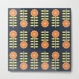 Retro sunflowers pattern Metal Print