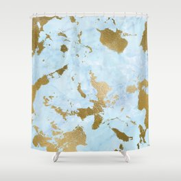 Pale Blue Gold Marble Shower Curtain