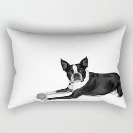 Fetch Boston Terrier B/W Rectangular Pillow