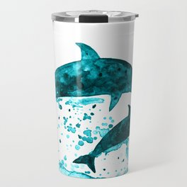 Dolphins, navy blue Travel Mug