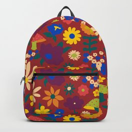 60's Country Mushroom Floral in Rust Backpack