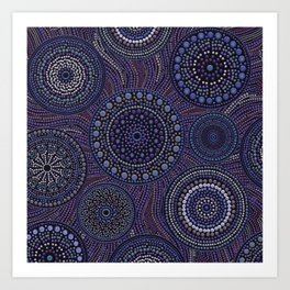 Dot Art Circles Purples Art Print