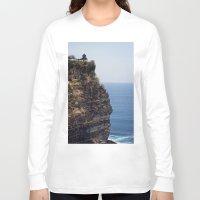bali Long Sleeve T-shirts featuring Uluwatu Temple Bali by Rachel's Pet Portraits