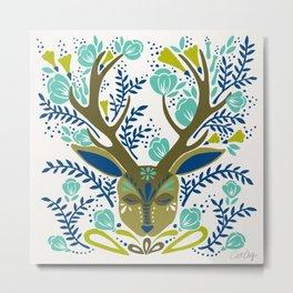 Floral Antlers – Earth Tones Palette Metal Print