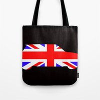 mini cooper Tote Bags featuring Mini Cooper by Derek Donovan