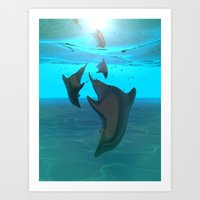 dolphins Art Prints featuring Dolphins by tvoneiro