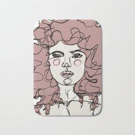 Curly Watercolor Girl Bath Mat