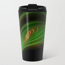 Gold Green Peacock Feather Travel Mug