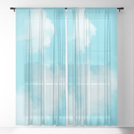 Aqua Blue Clouds Sheer Curtain