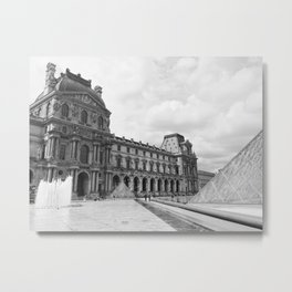 louvre black and white Metal Print