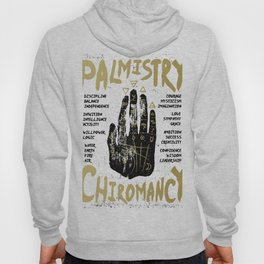 Palmistry, chiromancy. Black hand on a white textured background. Hoody