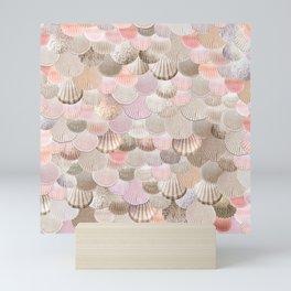 MERMAID SHELLS - CORAL ROSEGOLD Mini Art Print