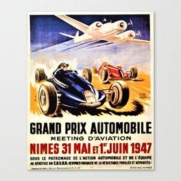 1947 Grand Prix Automobile verses plane vintage advertisement wall art Canvas Print