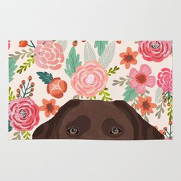 Chocolate Lab florals dog breed portrait pet art dog lover gifts labrador retriever Rug