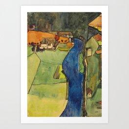 """Egon Schiele """"Stadt am blauen Fluss (Town on the blue river)"""" Art Print"""