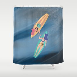 Surf Sisters - Muted Ocean Color Girl Power Shower Curtain