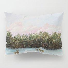 Pine View Deer Landscape Painting Art Pillow Sham