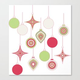 Christmas Ornaments in Retro Colors Canvas Print