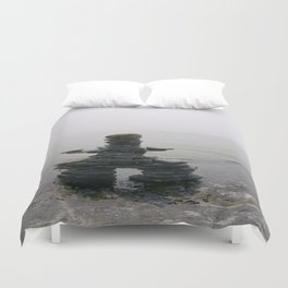 Stone Inukshuk on The Shore Looking Out Over Calm Water ~ A Meaningful Messenger Duvet Cover