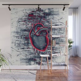 Gamer Heart BLUE CRIMSON / 3D render of mechanical heart Wall Mural