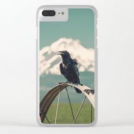 Mt. Jefferson Raven Clear iPhone Case