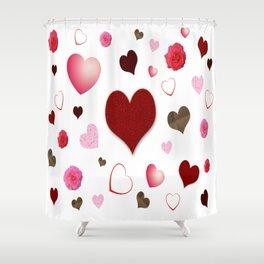 Hearts and Roses Shower Curtain