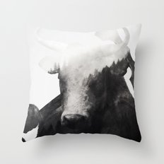 Minotaur (Black & White) Throw Pillow