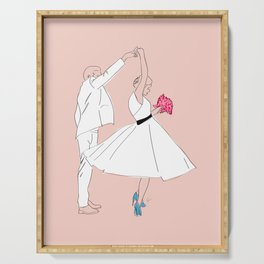 Dancing Couple on Pink Serving Tray