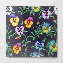 Pansy violet pattern Metal Print