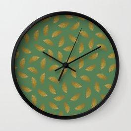 Gold Pattern on Christmas Green Wall Clock