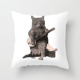 Cat Playing Banjo Guitar Throw Pillow