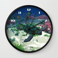 sea turtle Wall Clocks featuring Sea Turtle by Simone Gatterwe