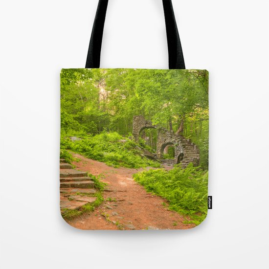 Sun Kissed Forest Castle Ruins Tote Bag