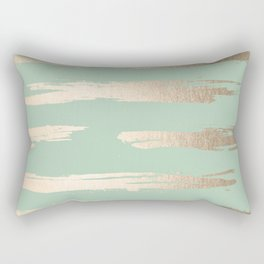 Simply Brushed Stripe White Gold Sands on Pastel Cactus Green Rectangular Pillow