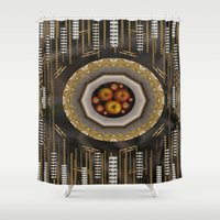 mac Shower Curtains featuring apple mac pro pattern by Pepita Selles