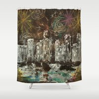 new year Shower Curtains featuring New Year by Aikunihana