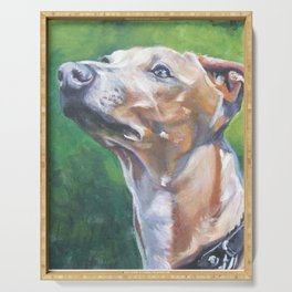 Italian Greyhound dog art portrait from an original painting by L.A.Shepard Serving Tray