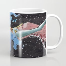 TRUTH - Blue Haired Girl on Acid Green background floating in inter-dimensional space Coffee Mug